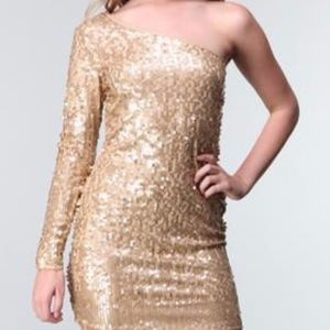 Baby Phat One Shoulder Sequin Gold Dress